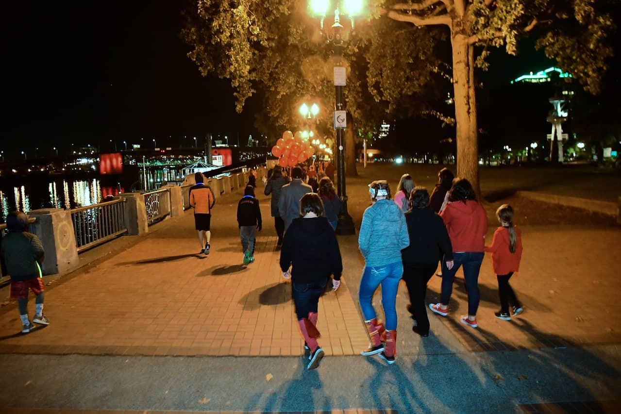 Walking to the Morrison Bridge
