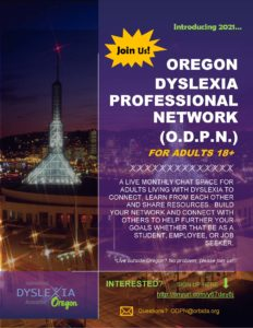 Oregon Dyslexia Professional Network (ODPN) @ Virtual